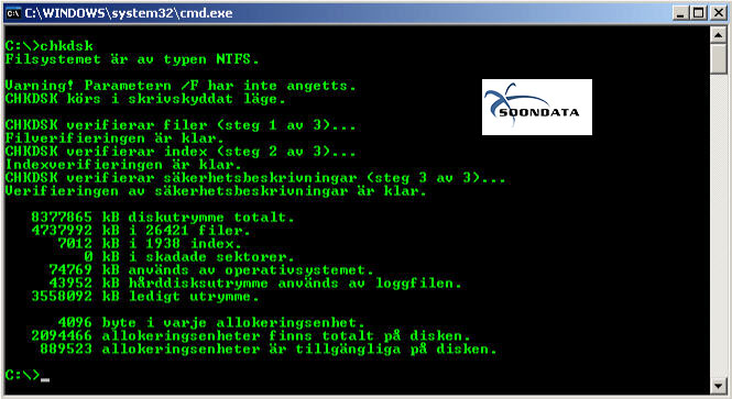 Checkdisk Windows dataräddning